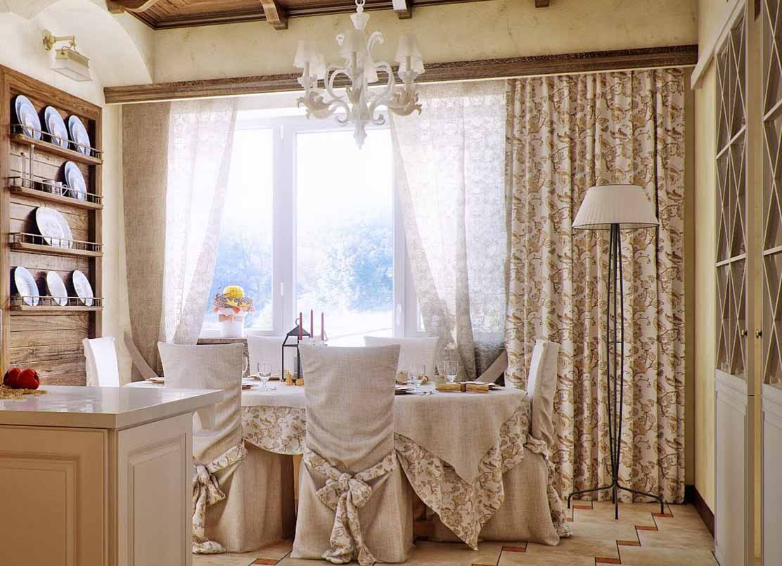 Brown-Fabric-And-White-Vitrage-Of-Country-Curtains-Put-With-Round-Dining-Set